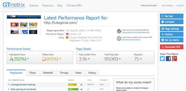 GTMetrix WebSite Speed