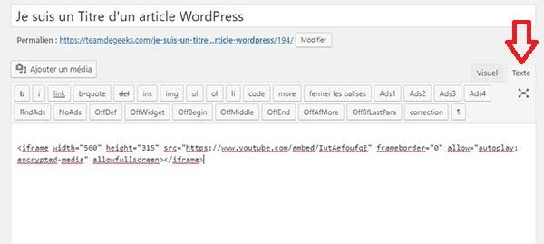 Collez le code d'intégration dans la partie Texte de l'éditeur !
