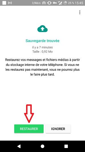 """Cliquez sur """"Restaurer"""" !"""
