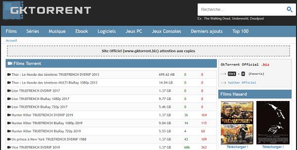 Le site torrent GKTorrent !