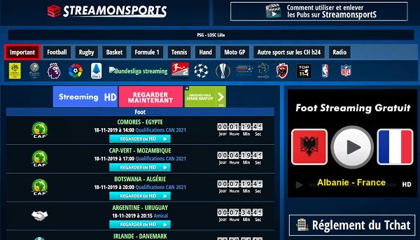 Stream On Sports - Match de foot en Direct