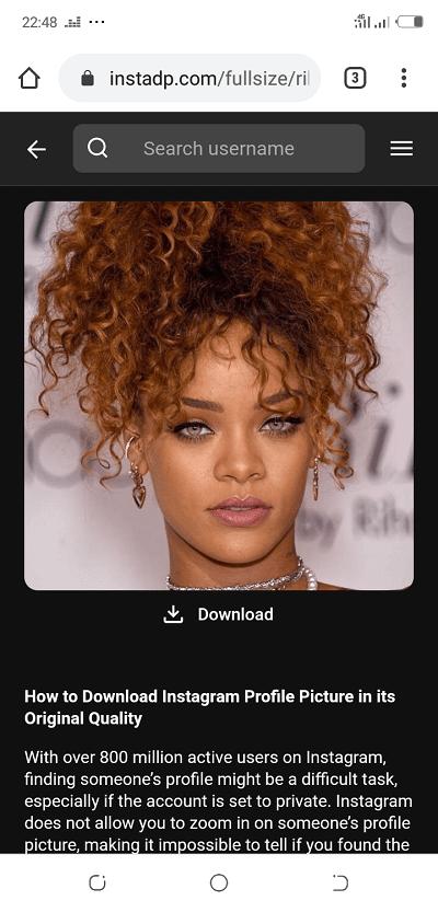 Photo de Profil Instagram en grand sur Android - Rihanna