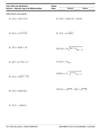 Worksheet: Differentiation of Natural Logarithms ...