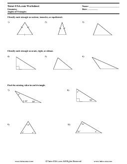 Worksheet: Triangle Angle Sum Theorem