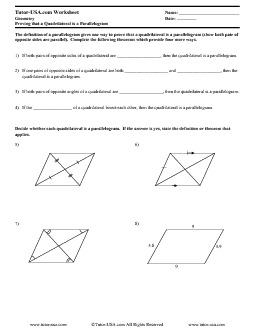 Worksheet Proving That Quadrilaterals Are Parallelograms
