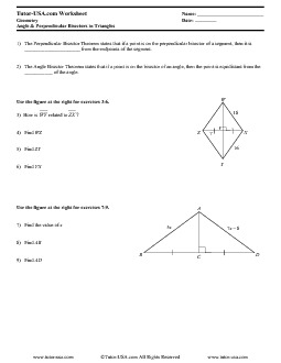 Worksheet: Properties of Perpendicular & Angle Bisectors