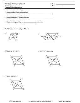 Printables. Properties Of Parallelograms Worksheet