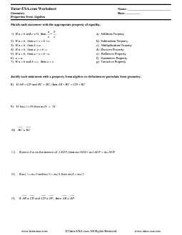 Worksheet Properties Of Equality Amp Congruence
