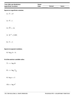 Worksheet Logarithmic Functions