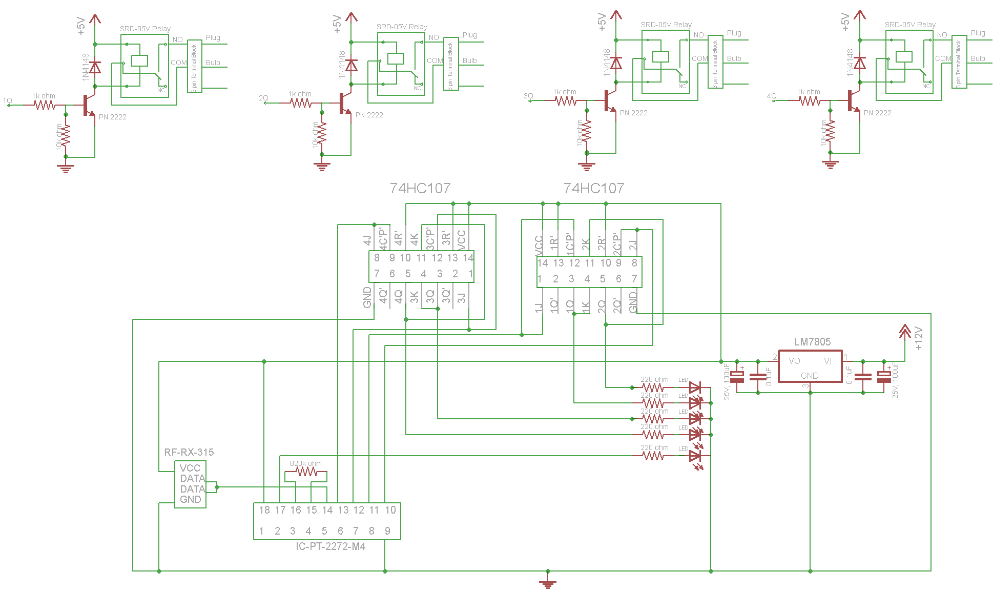 rf tx and rx circuit diagram trail tech vector wiring remote control 315mhz by using encoder