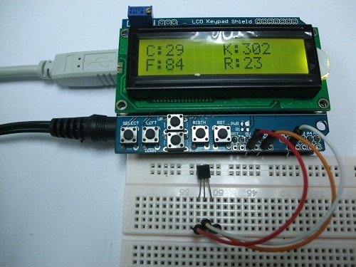 PROJECT 6 - TEMPERATURE SENSOR TO LCD DISPLAY