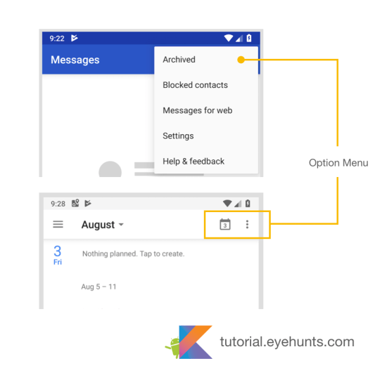 Android Menu example