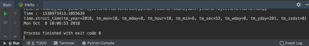 Python Time Function | TimeStamp | Time Milli Seconds Now example output