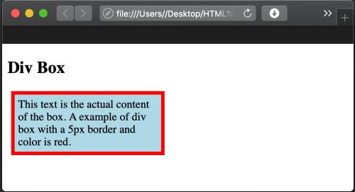 create an HTML div box output