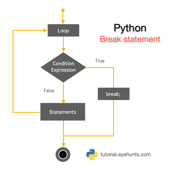 Python break Statement for Loop While For