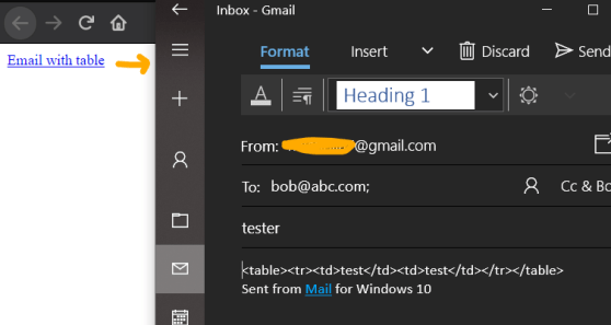 Insert HTML code in mailto body table