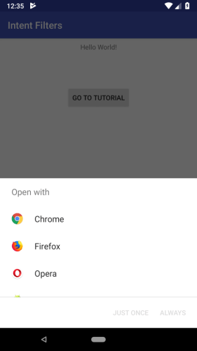 Output screenshotAndroid Intent Filtersexample