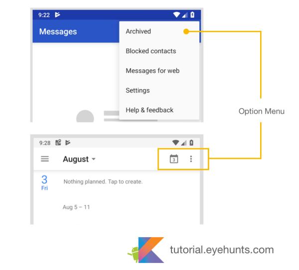 Android Menu - Option Menu Tutorial and Example in Kotlin - Eyehunt