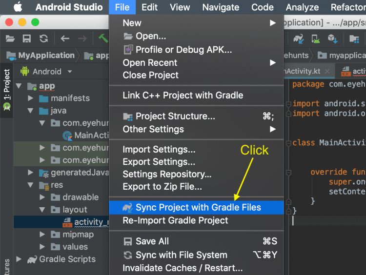 Sync project with gradle option to resolve symbol r