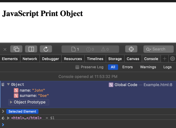 Javascript Print Object