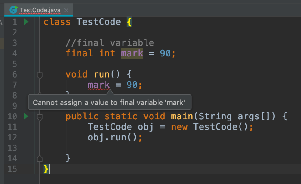 Java Final Variable example