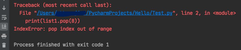 Python list pop function Remove element