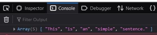 JavaScript split a sentence into words array