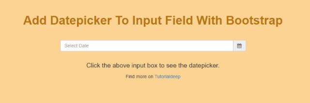How To Add Datepicker To Input Field With Bootstrap