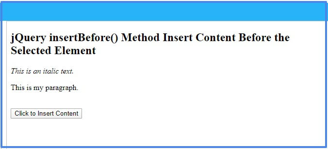 jquery-insertbefore-method