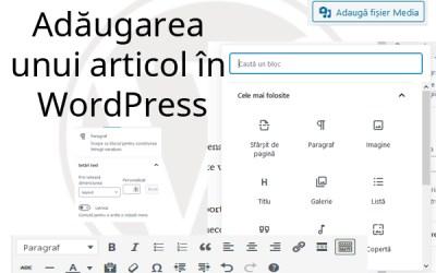 Adăugarea unui articol în WordPress