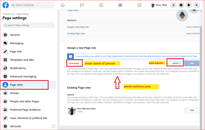 how to add admin to facebook page