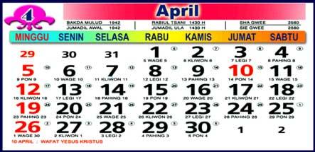 Kalender April 2009
