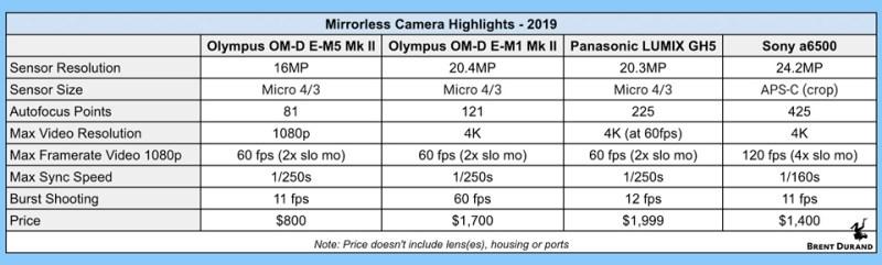 mirrorless camera chart 2019