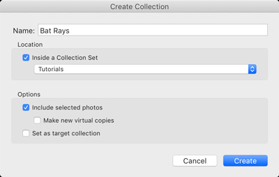 Create collections dialog box