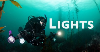 diver with underwater camera video lights and strobes