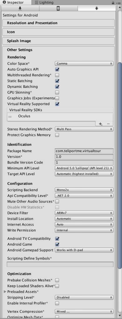 player settings unity