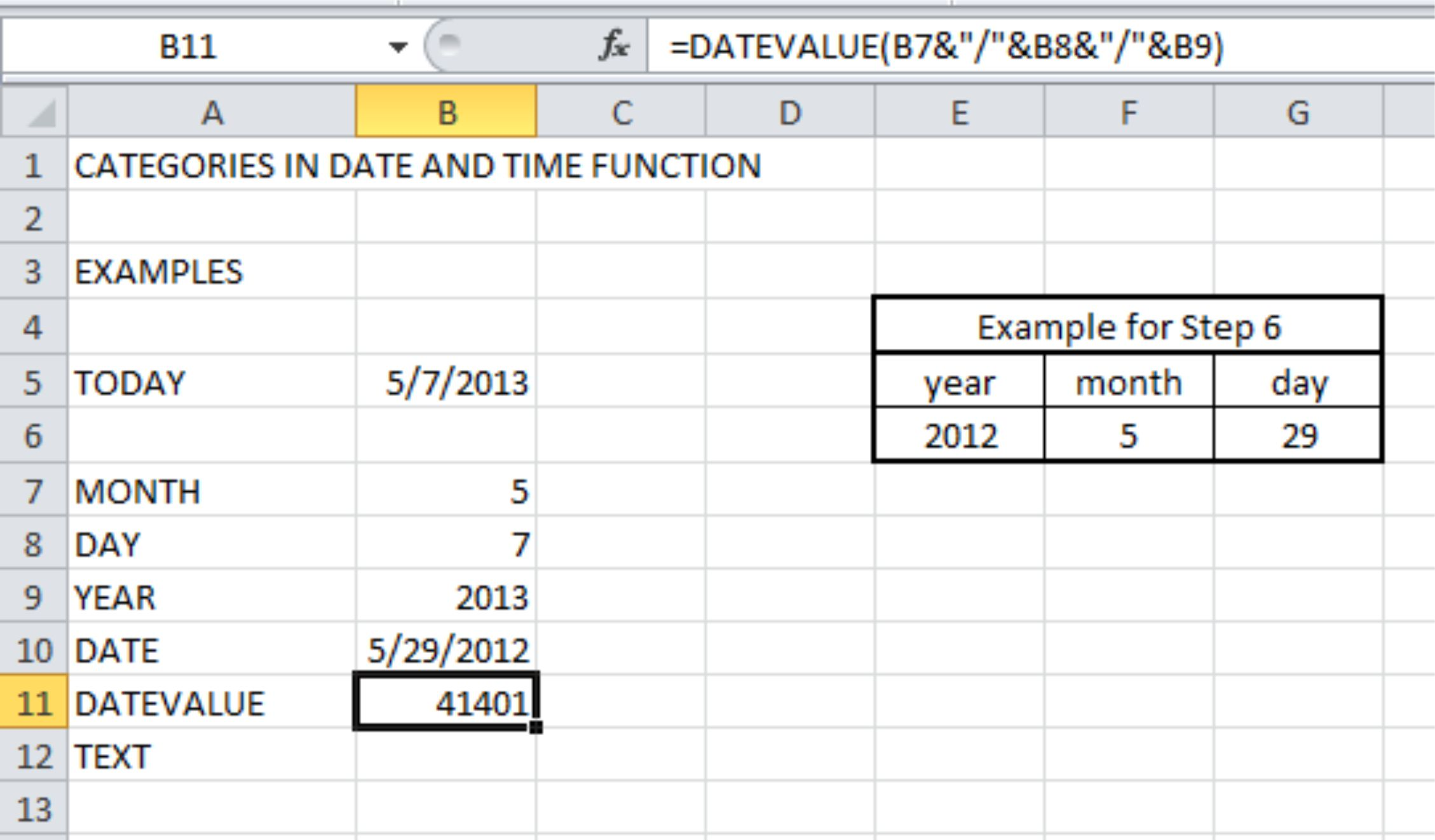 Date And Time Function In Excel