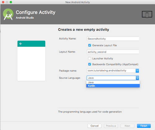Create New Android Activity , Choose activity name while create new android activity