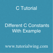Different C Constants in C Programming Language With Example