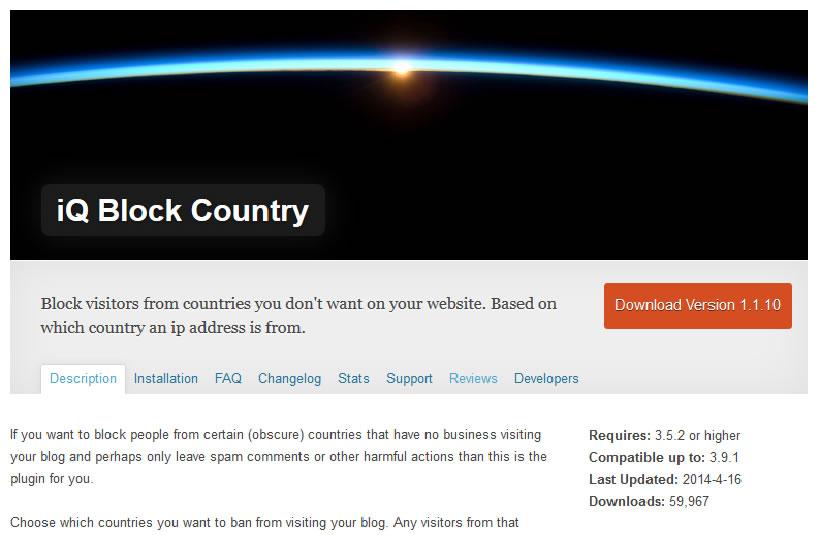 Plugin WordPress Iq Block Country de blocage des visites provenant de certains pays.