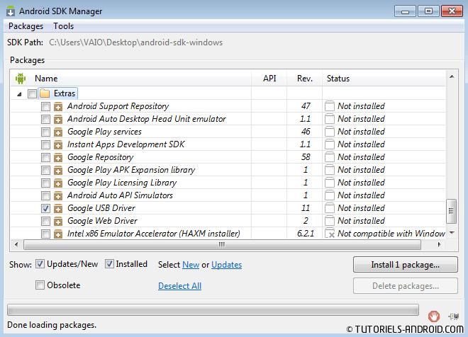 Installer drivers USB Android SDK via SDK Manager