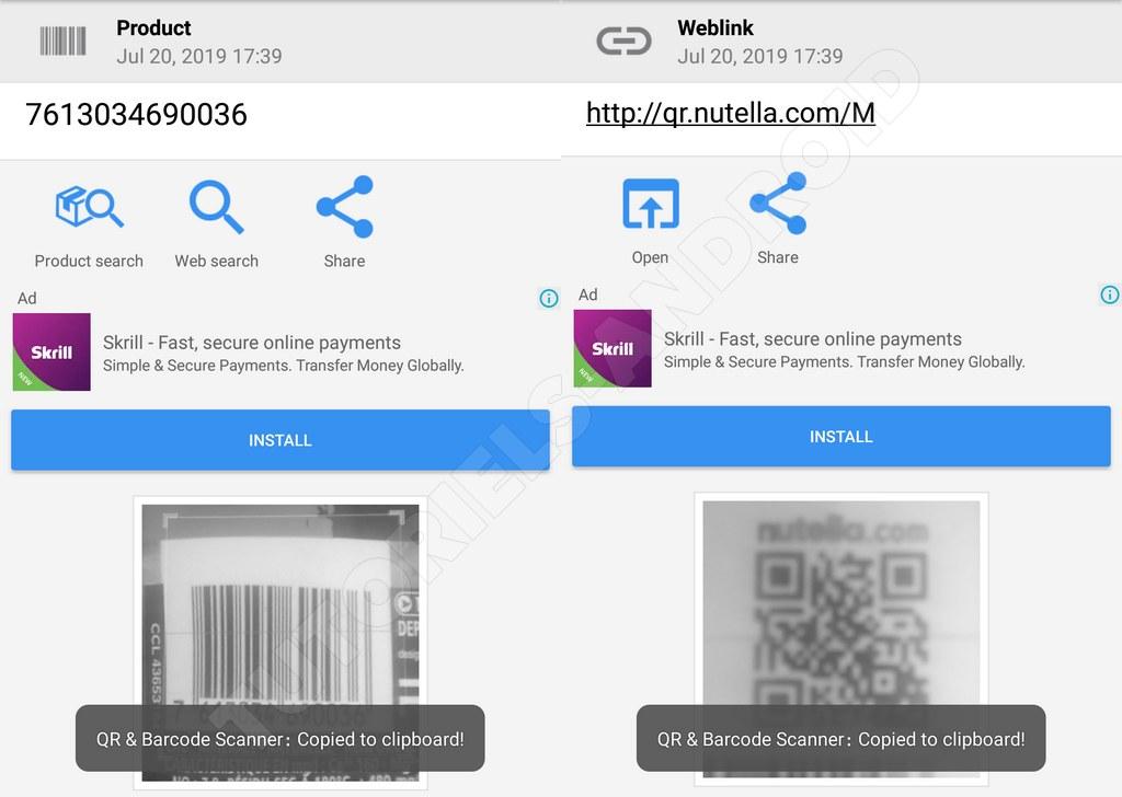 Captures : Scanner Code-barres & QR Android