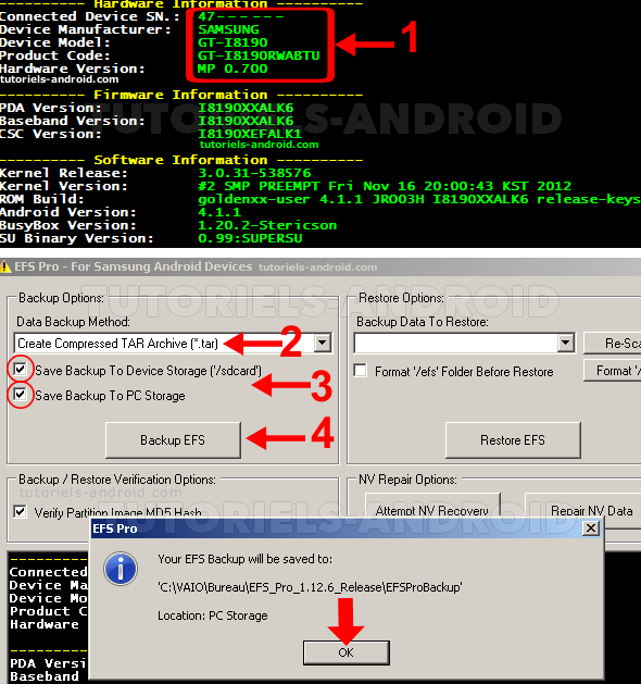 Utilisation EFS Pro pour GT-I8190