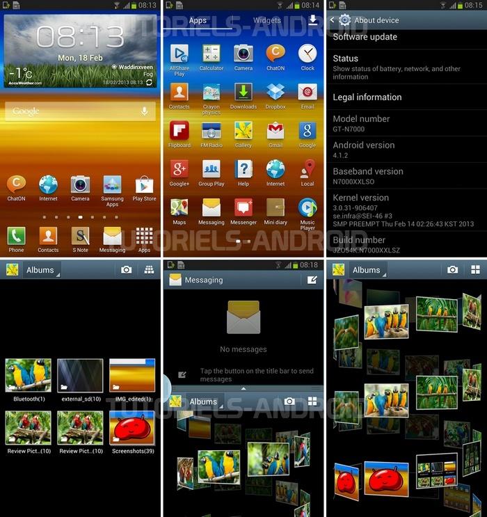 Captures d'écran : ROM XXLSZ pour GT-N7000