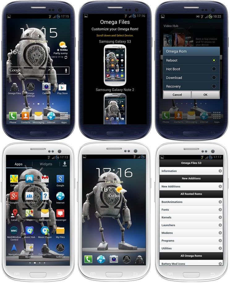 Captures : ROM custom OMEGA pour GALAXY S3