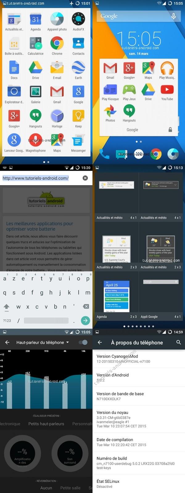 Captures d'écran : CM12 pour GT-N7100