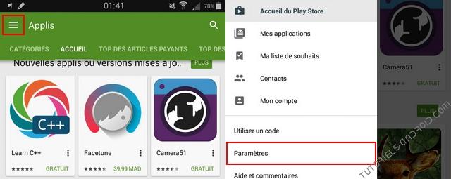 Paramètres Google Play