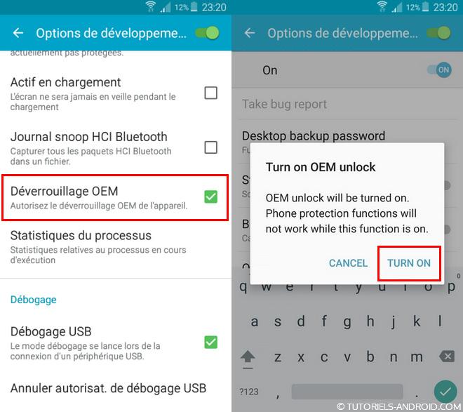 Android : activer le déverrouillage OEM