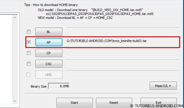 Flasher TWRP sur S5 Mini avec ODIN