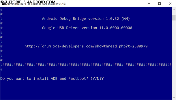 Confirmation installation ADB et Fastboot
